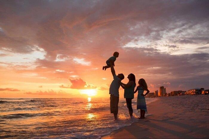 Sunset at family photo